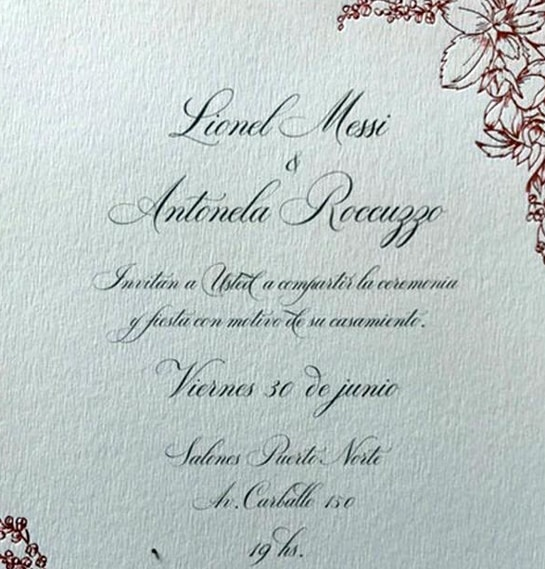 La invitación de boda de Messi y Antonella Rocuzzo