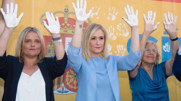 Mari Mar Blanco, Cristina Cifuentes y Manuela Carmena en el homenaje a Miguel Ángel Blanco