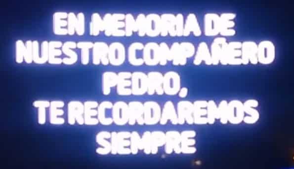 Mensaje publicado en las pantallas del Mad Cool en recuerdo a Pedro Aunión