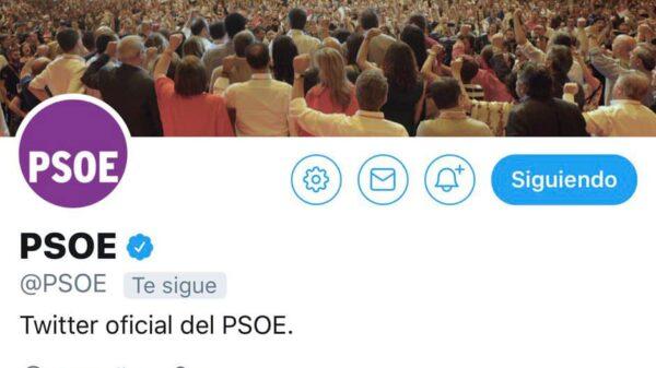 El logo del PSOE teñido de morado