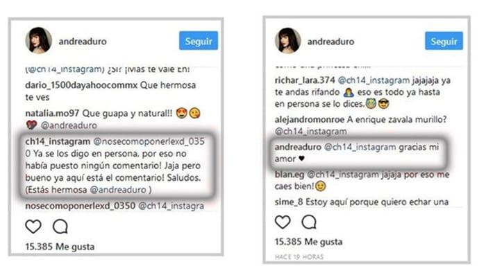 Conversación entre Chicharito y Andrea Duro