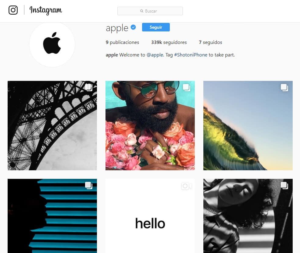 La cuenta oficial de Apple en Instagram