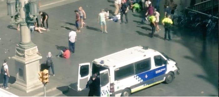 Un momento justo después del atropello en Barcelona