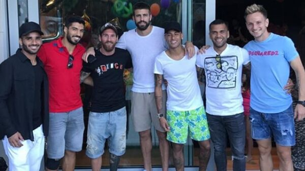 Piqué, Suárez y Messi junto a Neymar