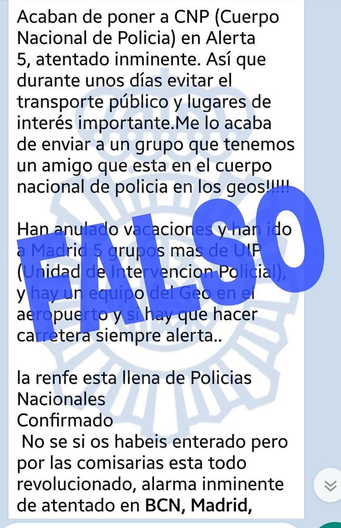 Uno de los mensajes falsos tras el atentado de Barcelona