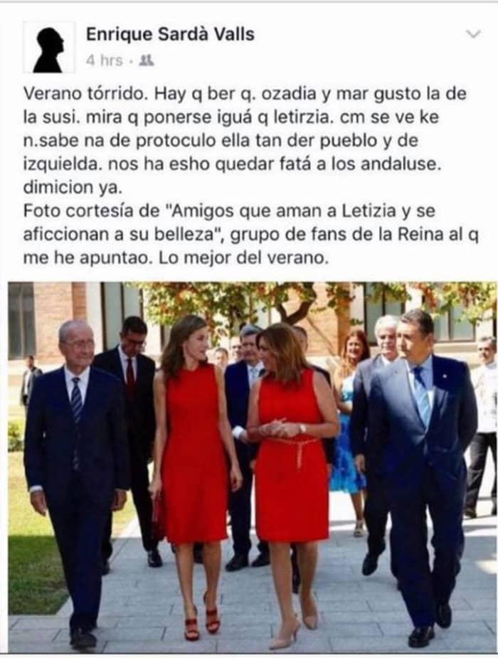 La publicación de Enrique Sardá Valls contra Susana Díaz