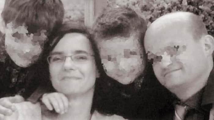 Elke Vanbockrijck  con su marido y sus hijos