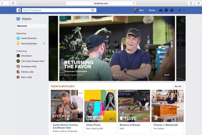 Una vista de Facebook Watch