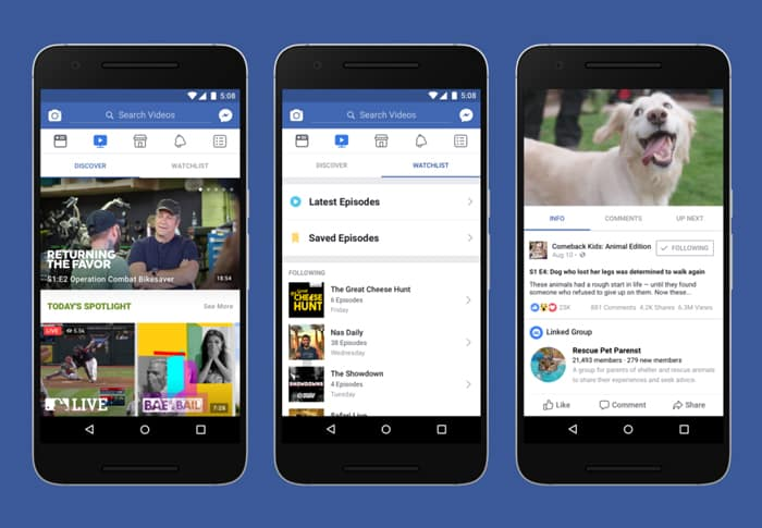 Una vista de Facebook Watch para móvil