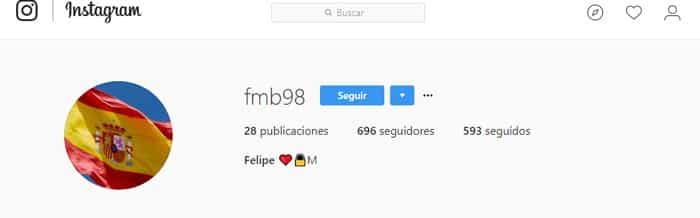 La cuenta de Froilán en Instagram