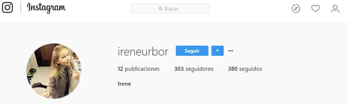 El perfil en Instagram de Irene Urdangarín