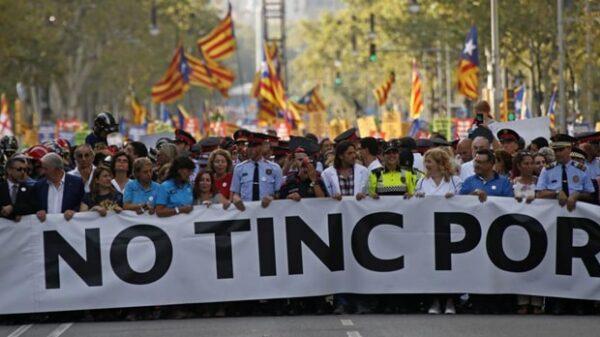 Cabecera de la manifestación de Barcelona