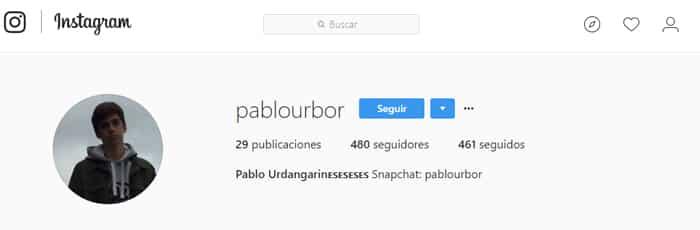 La cuenta de Pablo Urdangarín en Instagram