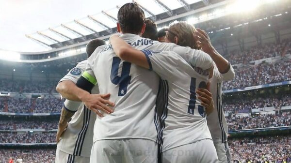 Los jugadores del Real Madrid celebrando un gol la pasada temporada