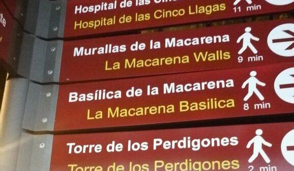 Los nuevos carteles turísticos de Sevilla, con la traducción al inglés