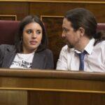 Pablo Iglesias e Irene Montero en el Congreso