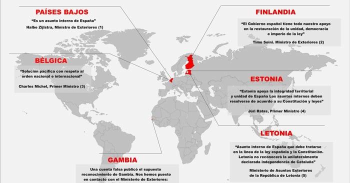 El mapa de los bulos del reconocimiento a la República Catalana