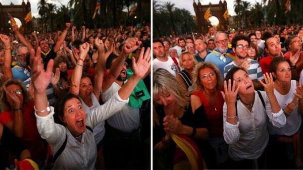 Los independentistas que seguían el discurso de Puigdemont pasaron del éxtasis a la decepción