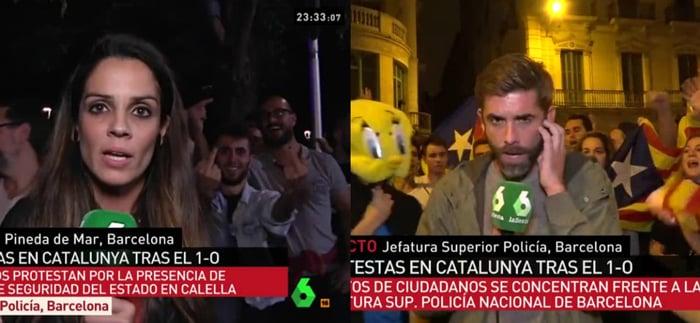 Ana Cuesta y José Yélamo, reporteros de La Sexta