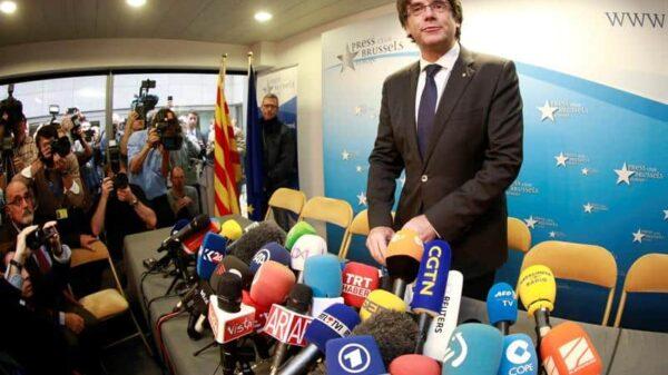 Carles Puigdemont antes de su comparecencia de este martes en Bruselas