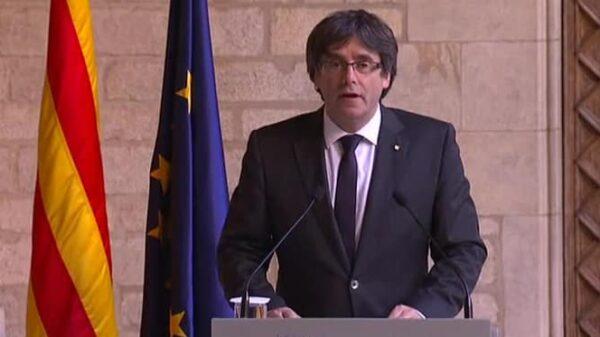 Carles Puigdemont en su declaración institucional