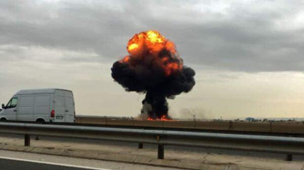 Columna de humo tras producirse el accidente
