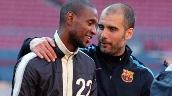 Eric Abidal y Pep Guardiola cuando ambos estaban en el Barça