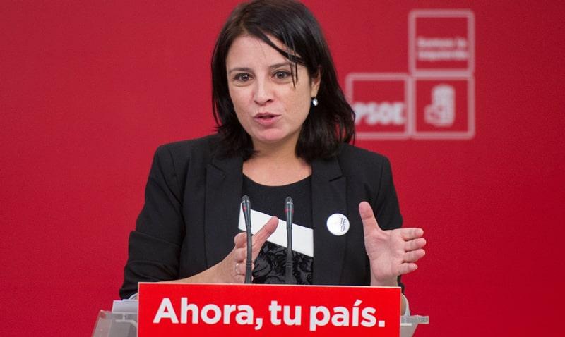 Adriana Lastra durante su rueda de prensa este martes