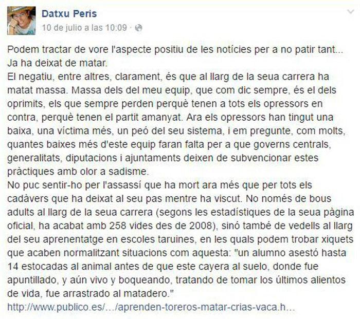 La publicación en Facebook de Datxu Peris cuando murió Víctor Barrio