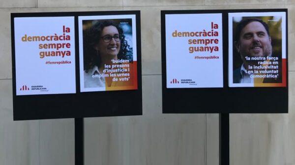 Los carteles de la campaña de ERC para las elecciones catalanas del 21D