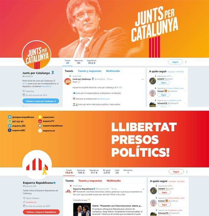Los perfiles de Twitter de Junts per Catalunya y ERC