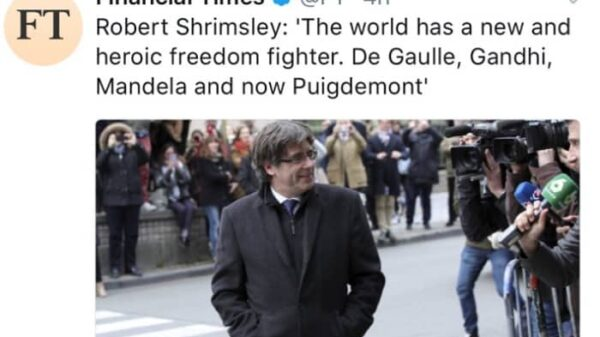 El titular de 'Financial Times' sobre Puigdemont