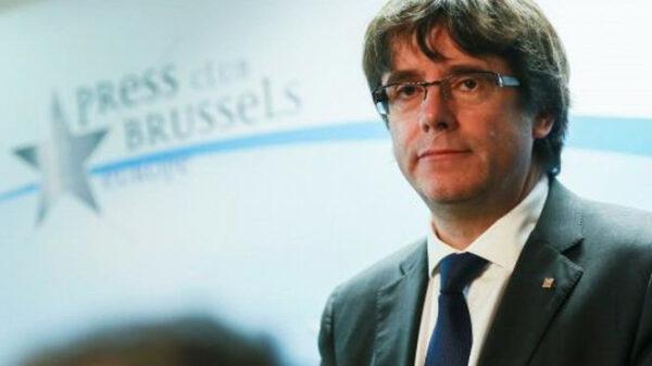 Carles Puigdemont durante la rueda de prensa que ofreció la semana pasada en Bruselas
