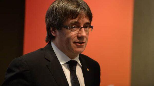 Carles Puigdemont este sábado durante la presentación de su candidatura en Brujas