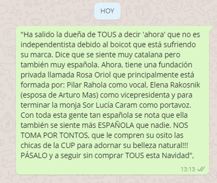 El mensaje de WhatsApp pidiendo el boicot de Tous