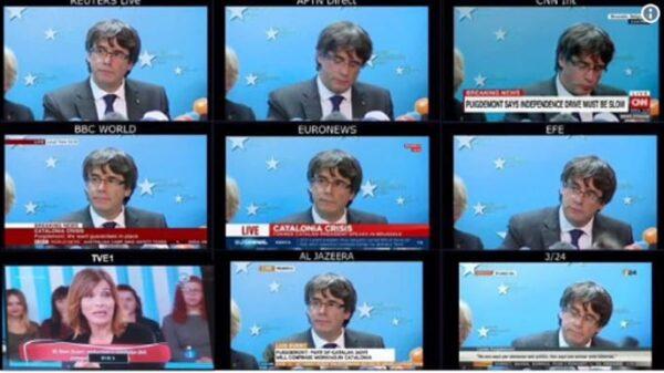 Comparecencia de Puigdemont en todas las cadenas menos TVE