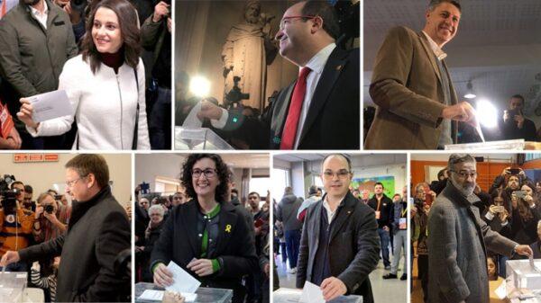 Arrimadas, Iceta, Albiol, Domènech, Rovira, Turull y Riera votando este 21D