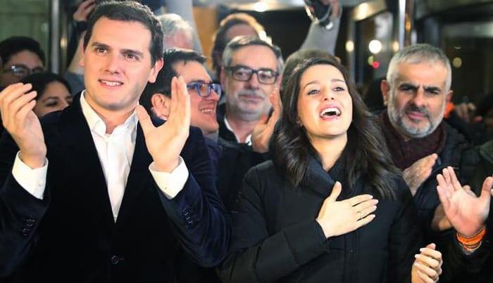 Albert Rivera e Inés Arrimadas celebrando el triunfo de Ciudadanos en las elecciones catalanas