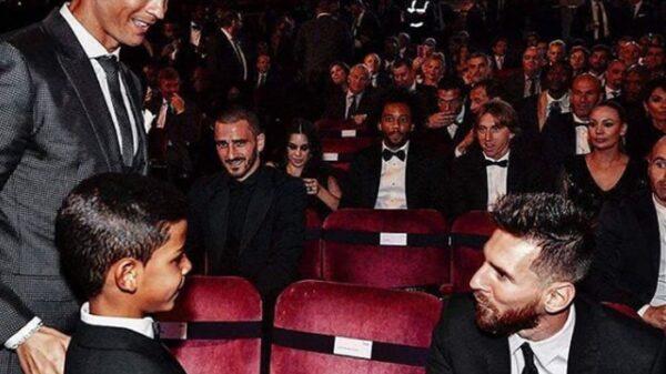 Cristiano, su hijo y Messi