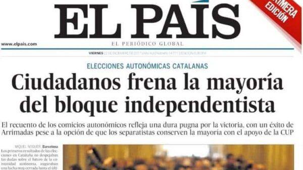 Portada de la primera edición de 'El País' de este viernes 22 de diciembre