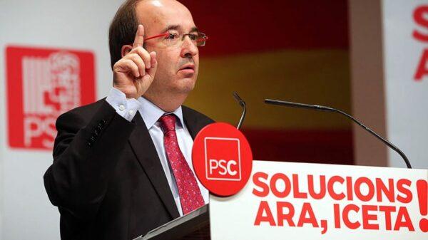 Miquel Iceta durante un mitin del PSC