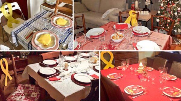 Mesas con un asiento con un lazo amarillo para pedir la libertad de los políticos catalanes