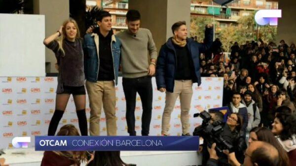 Cuatro de los concursantes de 'OT' en la firma de Barcelona