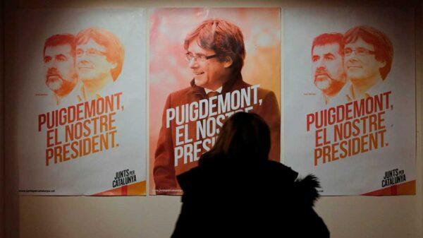 Carteles electorales de Junts per Catalunya, la candidatura de Carles Puigdemont