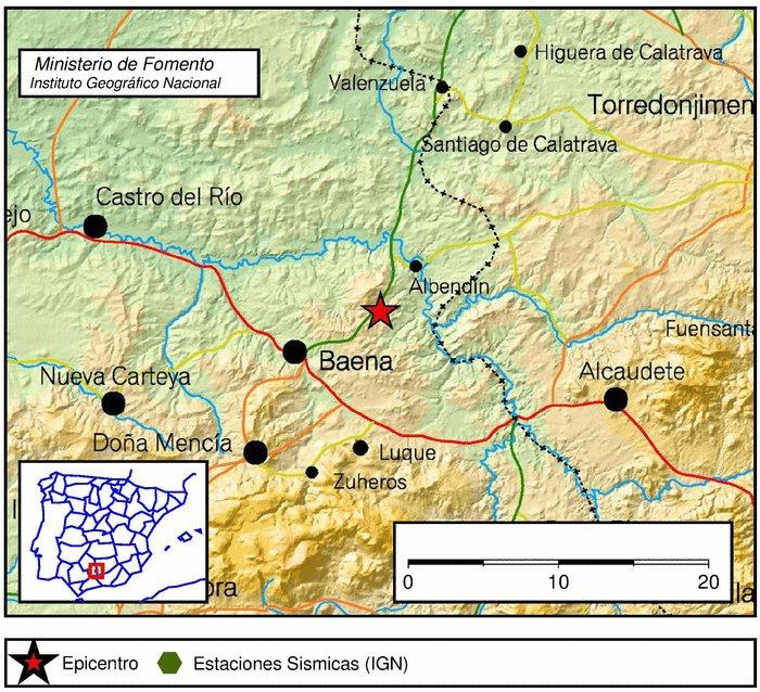 Terremoto con epicentro en Baena
