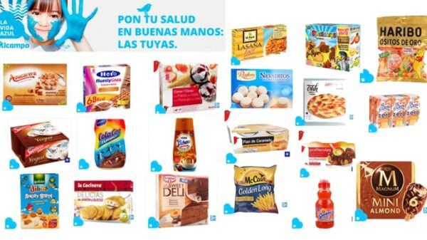 Productos de Alcampo dento de su campaña 'La vida azul'