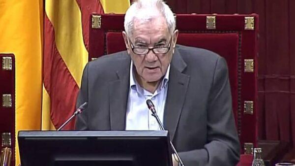Ernest Maragall durante su discurso en el Parlament