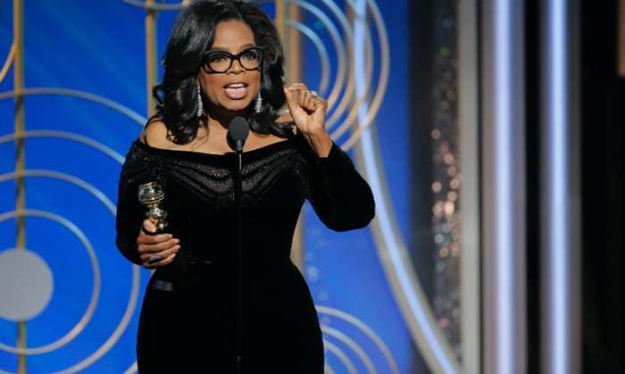 Oprah Winfrey en su discurso en los Globos de Oro