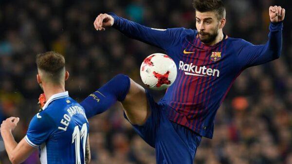 Gerard Piqué en el partido de este jueves contra el Espanyol