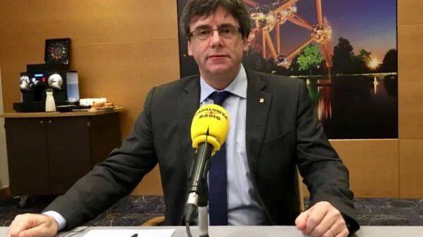 Carles Puigdemont en Bruselas durante la entrevista en Catalunya Ràdio